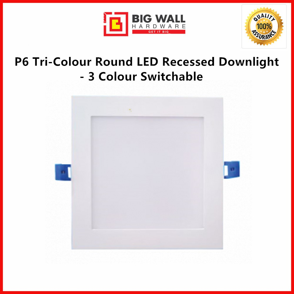 Perfect One P6 Tri-Colour Square LED Die-casting Downlight - 3 Colours Switchable