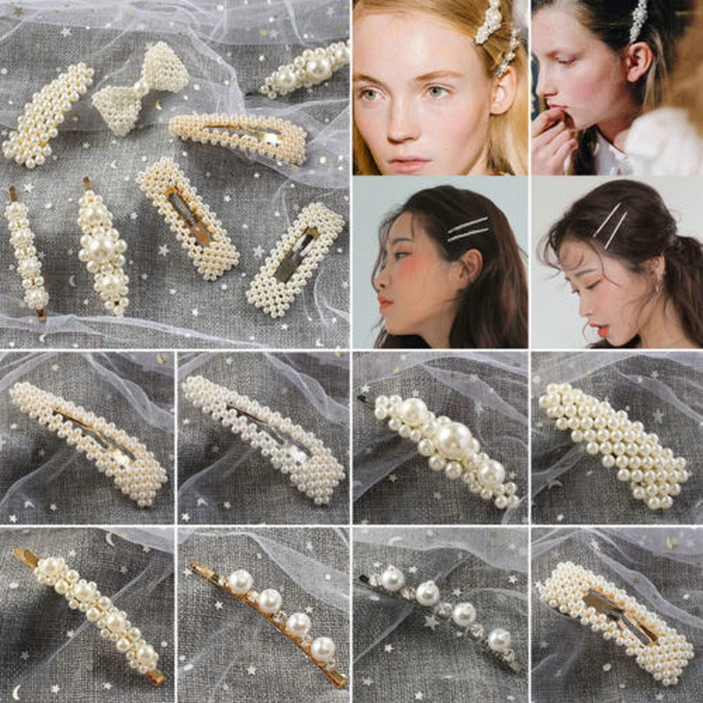 New Style Pearls Beaded Barrette Stick Hair Clips Hairpin Hair Accessories