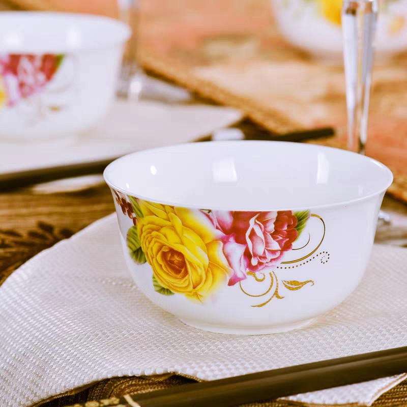 Premium Ceramic Glassware Eating Soup Bowl / Mangkuk  with Elegant Flower Designs