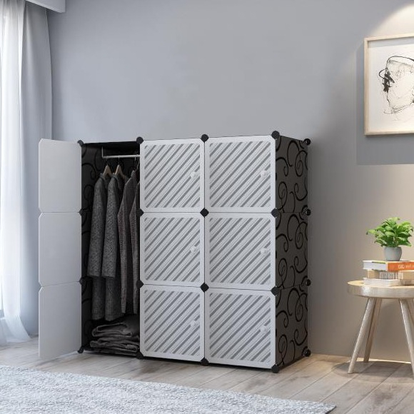 [READY STOK BM] ALMARI LINE WHITE 9C DIY Rack Storage Cabinet Wardrobe With Almari Hanger (LW9BK)