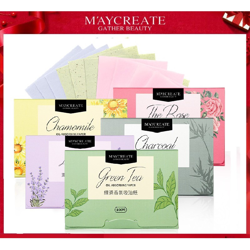 【MAYCREATE】100 pcs Facial Oil Absorbing Paper Blotting Sheets Face Cleanser Acne Treatment Paper