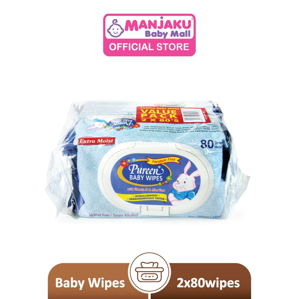 Pureen Baby Wipes - Blue (2 x 80's)