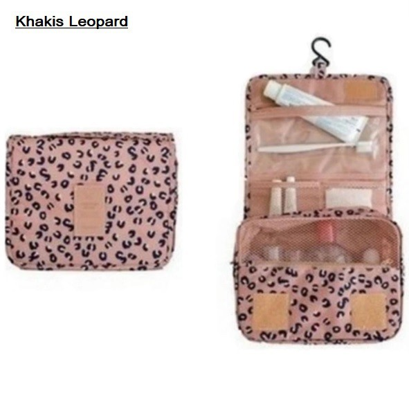 Nylon Toiletry Bag - Khakis Leopard/Flowery Blue/Daisy Purple/Blue/Red