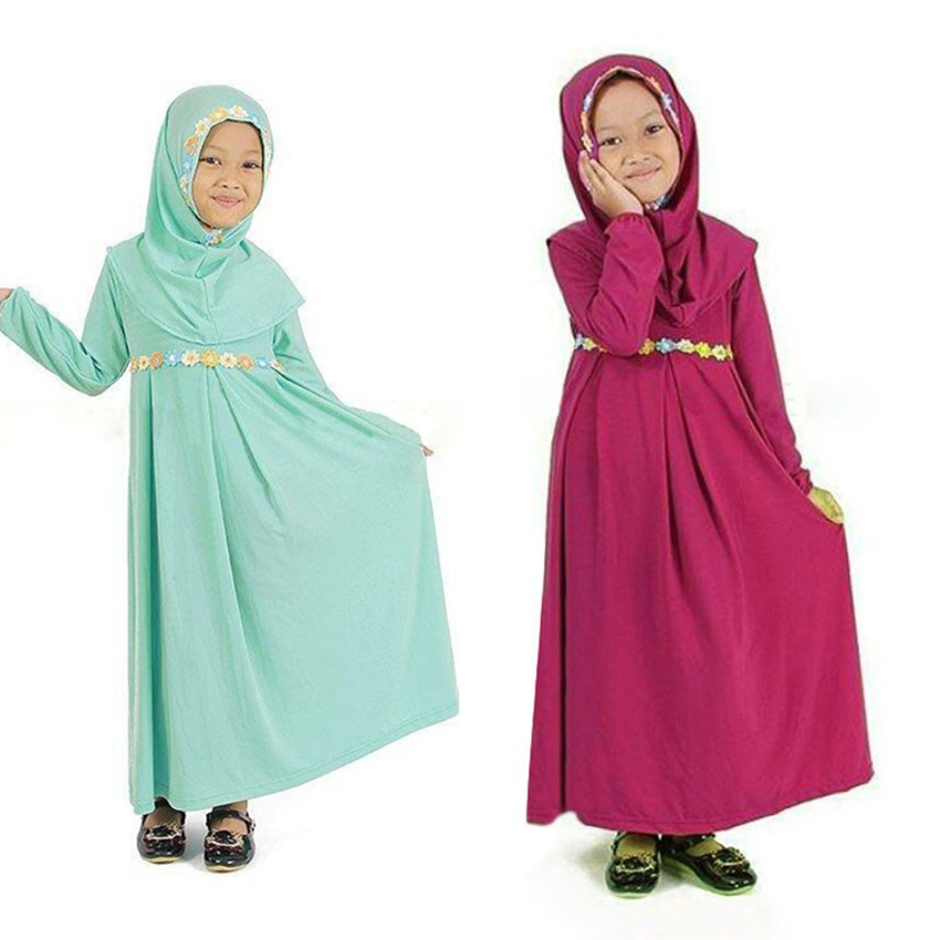 586072928392e Islamic Traditional Costumes 2PCs Hijab Dress Set for New Born Infant Girls  Turkish,Arabic Wear Muslim Abaya Ramadan H