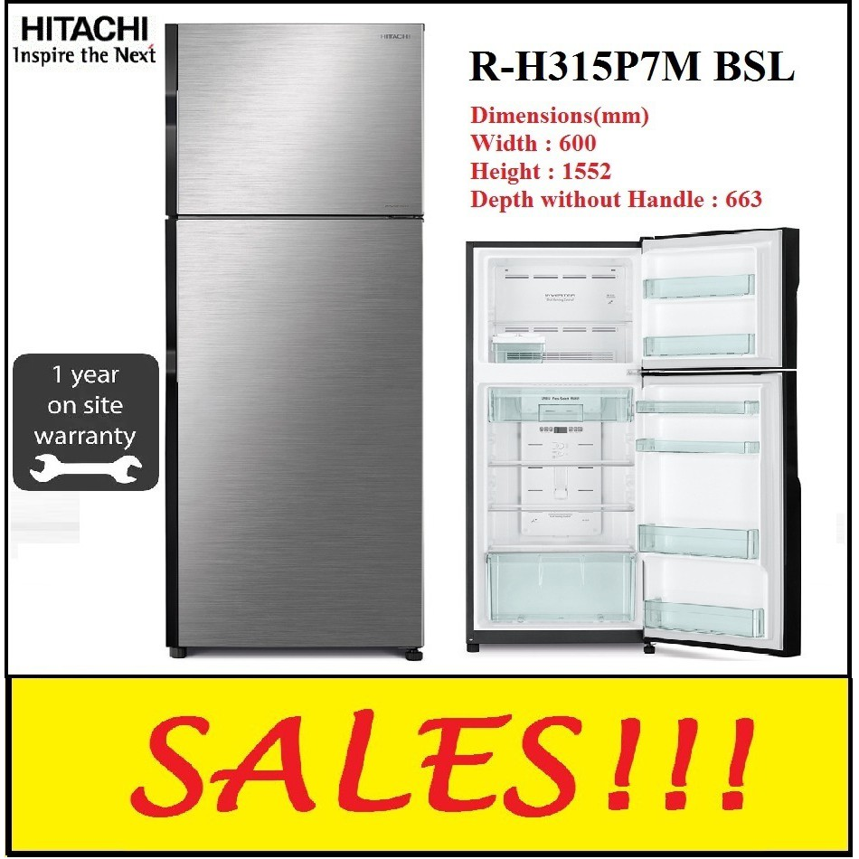 HITACHI R-H315P7M 2 DOOR FRIDGE REFRIGERATOR RH315P7M (KL & SEL area only)