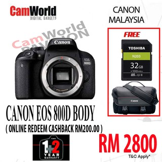 CANON EOS 800D BODY ONLY ( ONLINE REDEEM CASHBACK RM200 00