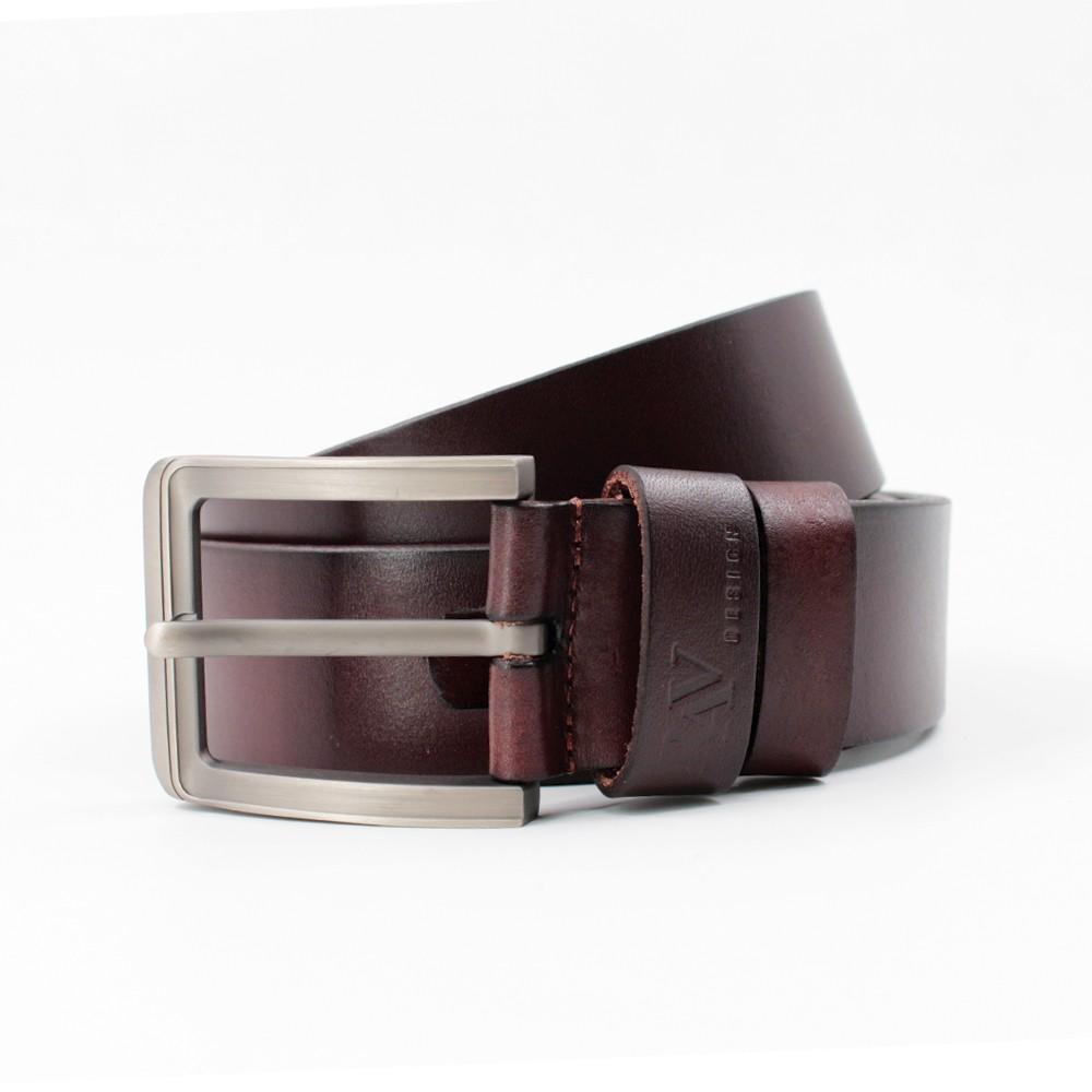 Rav Design Men's 100% Genuine Cow Leather 40mm Matt Pin Buckle Belt Brown |RVB577G1