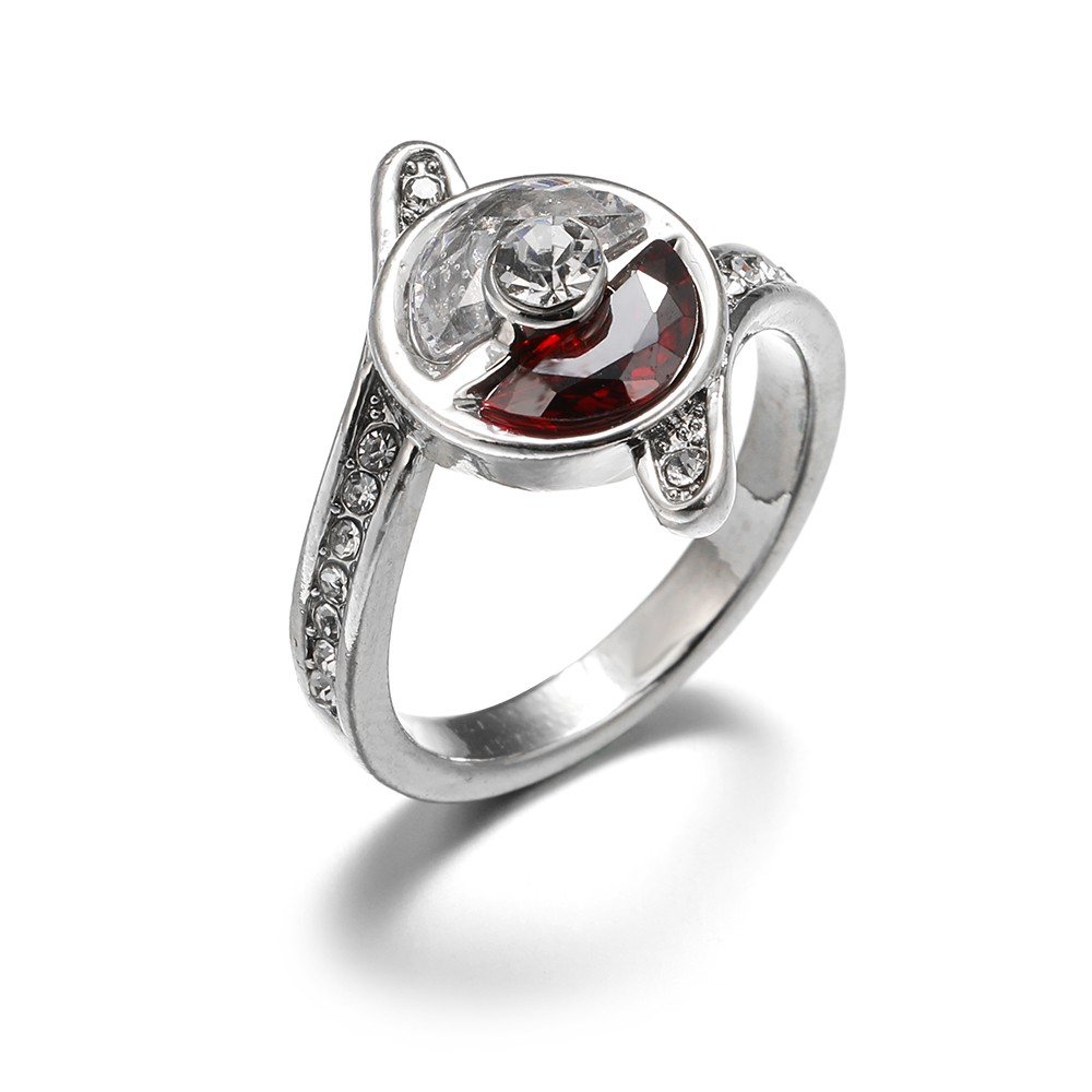 0e594ad0de462 Deluxe Pokemon Pokeball Sterling Silver Diamond and Ruby Ring Wedding Band  Engagement Rings for Women Fashion