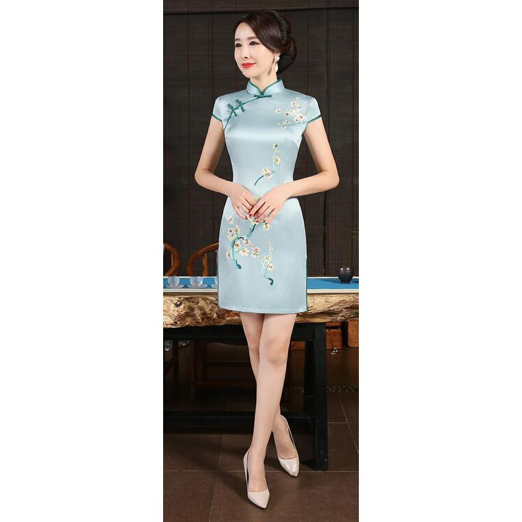 1b1bd79a2 ProductImage. ProductImage. Sexy Satin Flower Vintage Chinese Women Dress  Slim Mandarin Lady Formal