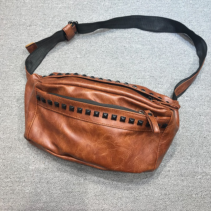dca8754183c7 Rivet chest bag single shoulder straddle bag men's and women's backpack  fashion back