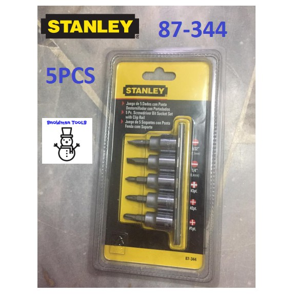 "STANLEY 5PCS 3/8"" (+)(-) SOCKET 87-344 PHILIPS SLOTTED SOCKET DRIVER SET 87344, 5PCS 3/8"""