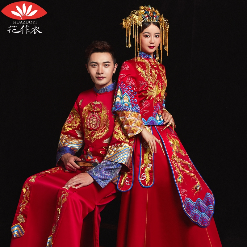 Xiu Wo Clothes Bride 2019 New Chinese Wedding Dress Groom Couple