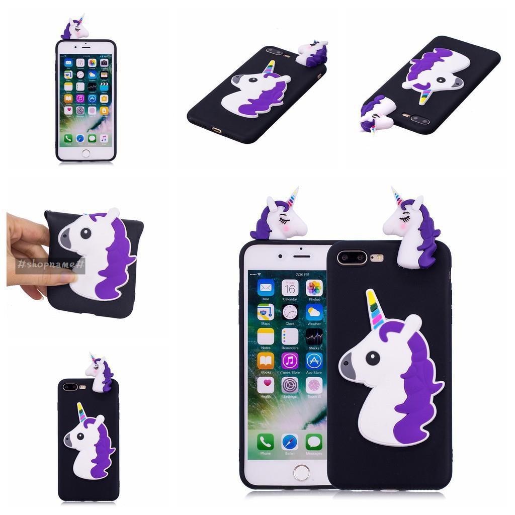 Top 2019 for iPhone 7Plus,8Plus 6 colors 3D Colorful Unicorn TPU Soft Case
