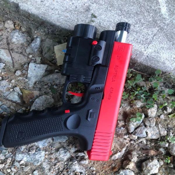 Jinming Glock Watergun Haowei X1 Electric Burst Toygun With 14 Counter Tooth Metal Casing Flash Hider Shopee Malaysia