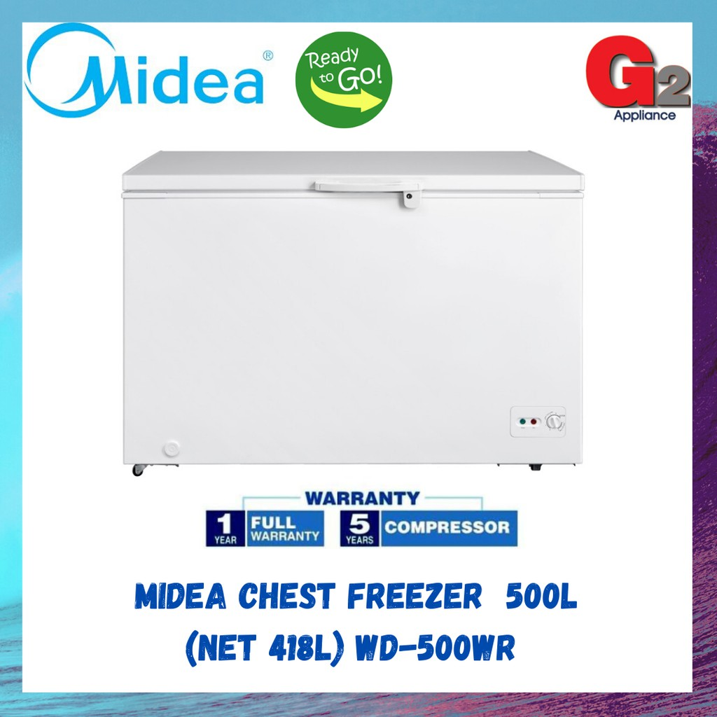 MIDEA CHEST FREEZER 500L (NET 418L) WD-500WR - MIDEA WARRANTY MALAYSIA