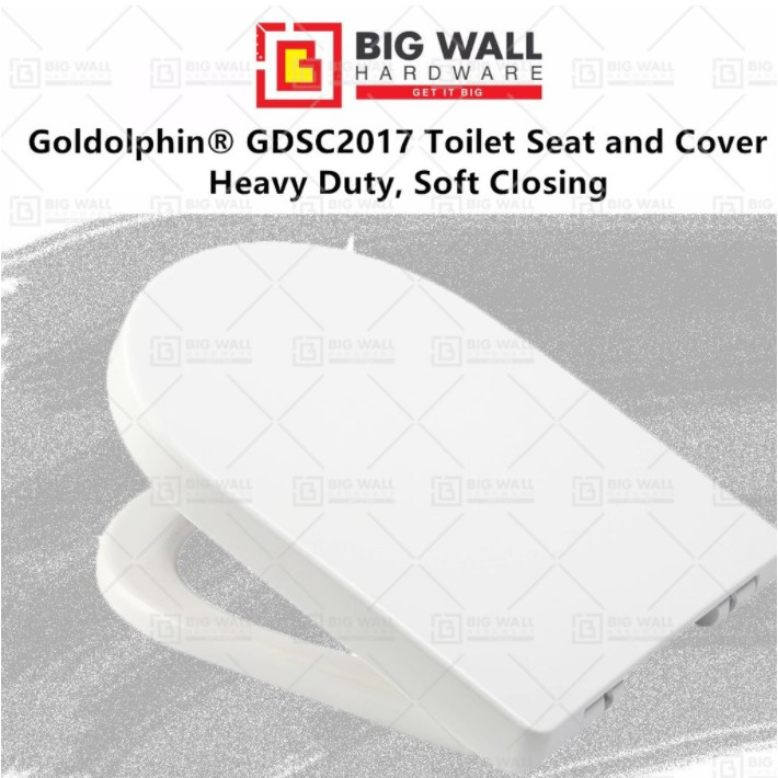 Goldolphin® GDSC2017 Heavy Duty Soft Closing Toilet Seat and Cover Suitable for Claytan USC245MSHDWT Model(Big Wall)