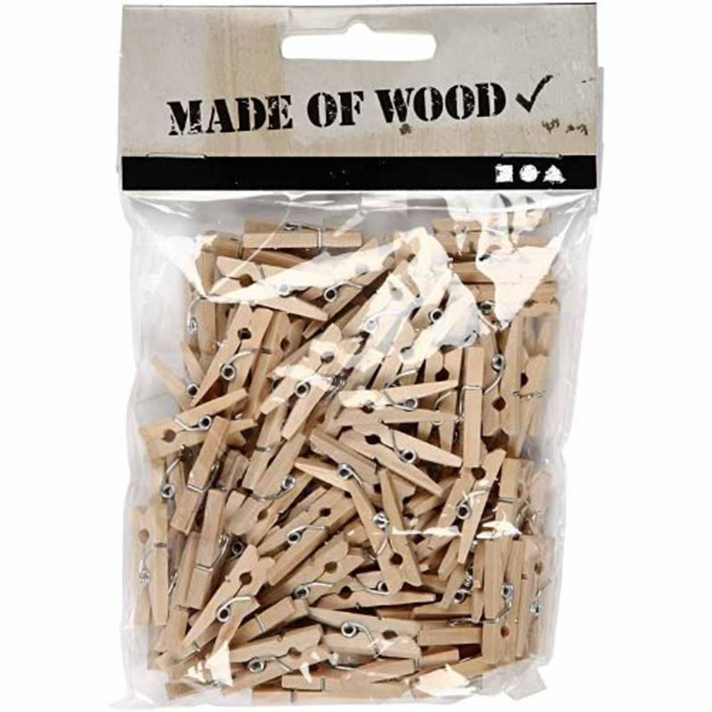 100 pcs Small Size 25mm Mini  Wooden Clips For Photo Clips Clothespin Craft Deco