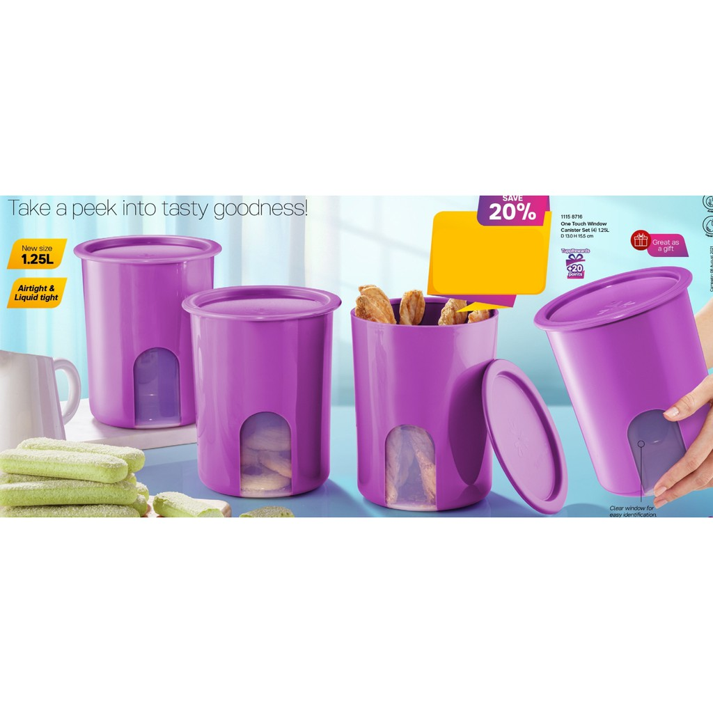 Tupperware One Touch Window Canister Set (4pcs) 1.25L