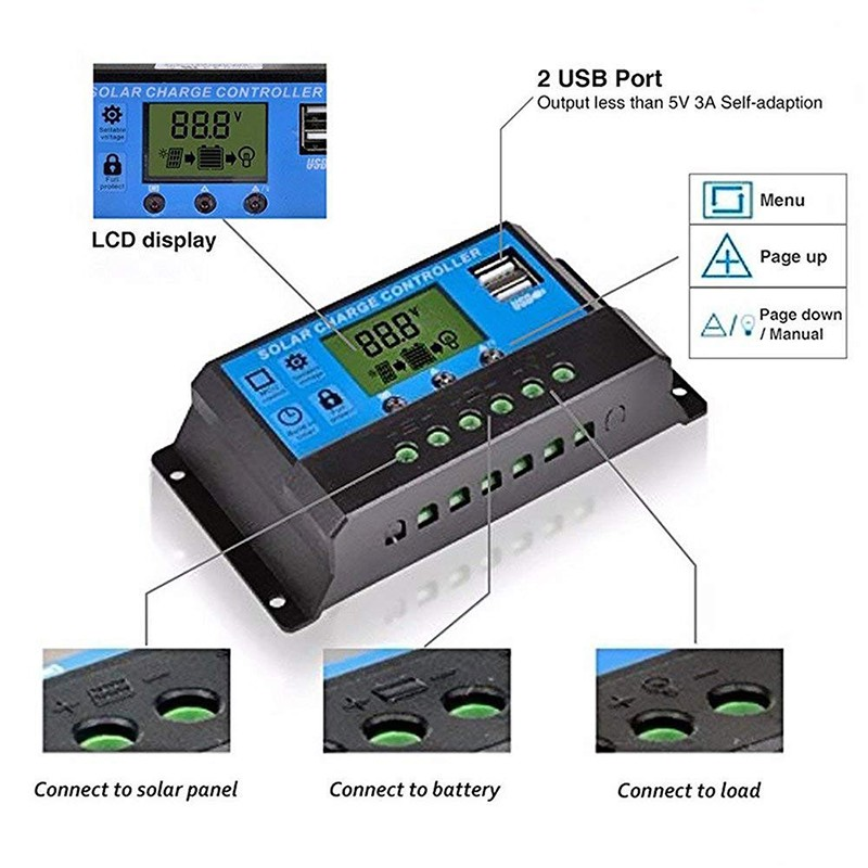 10A 12/24V LCD Auto Work Solar Charge Controller PWM Dual USB Output Charger