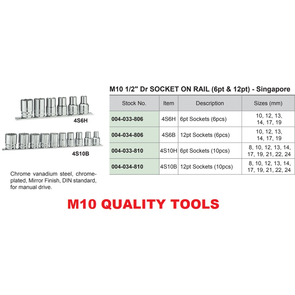 "M10 QUALITY TOOLS 1/2"" 6PT 12PT SOCKET NUT DRIVER ON RAIL SET"