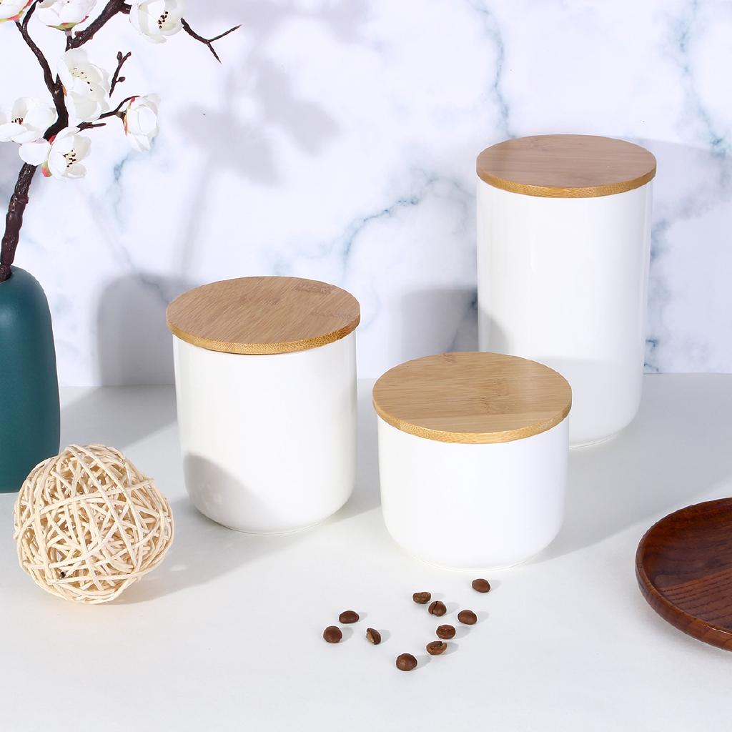 Storage Jars Wooden Lids Tea Coffee