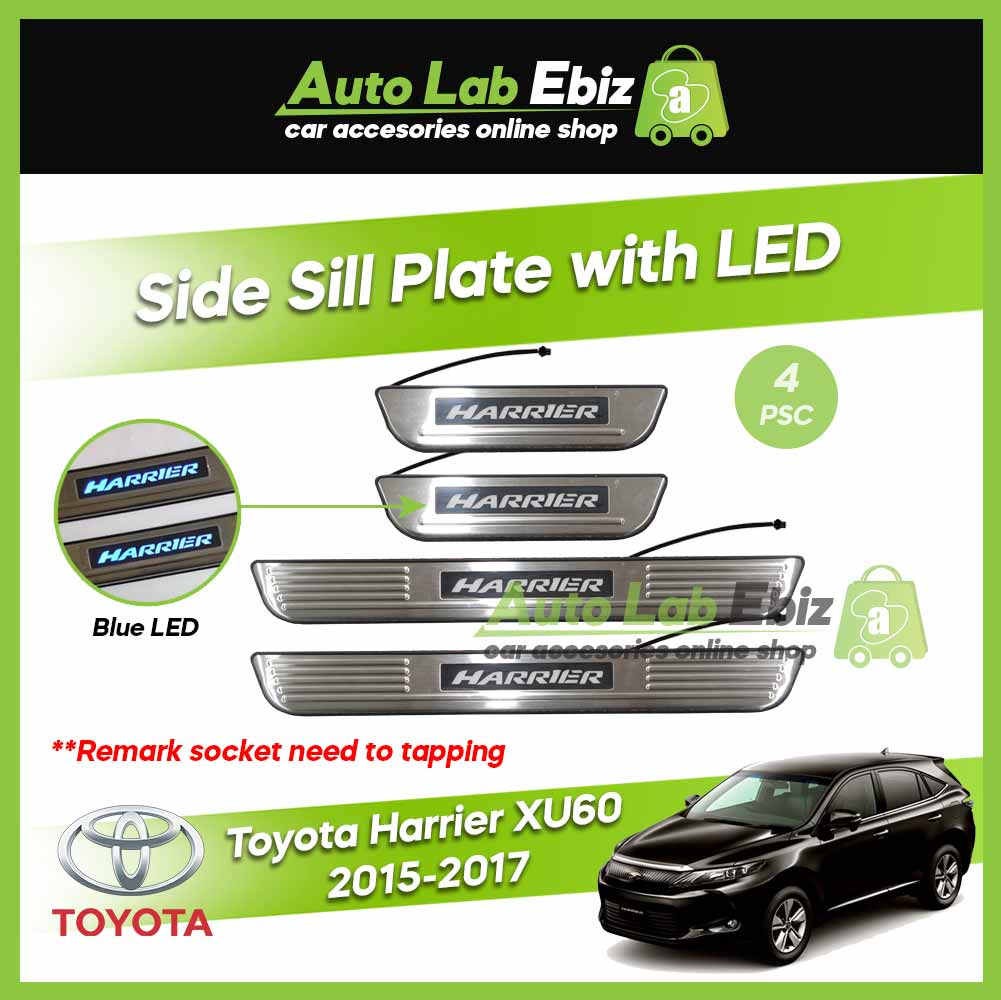 Toyota Harrier XU60 2015-2017 Side Sill Plate with LED Blue (4pcs/set)
