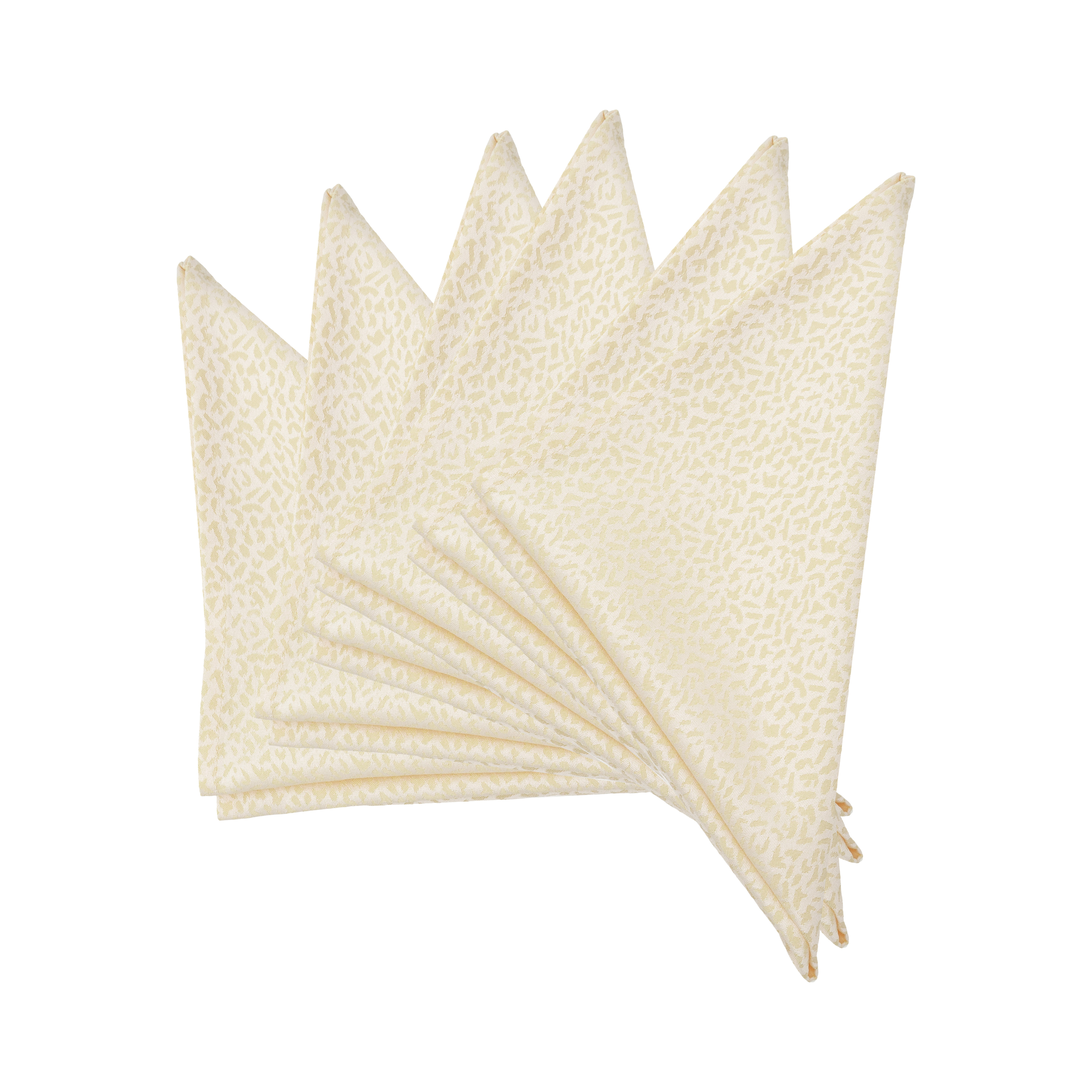 """Small Marble Damask Polycotton Table Napkins/Fabric Serviette Napkins 51x51cm/20x20"""". Pack of 2,4 or 6 (Ivory)"""