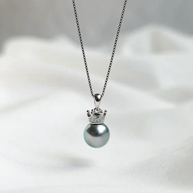 Natural Sea Tahiti Crown Black Pearl Pendant Necklace  天然海水大溪地皇冠黑珍珠吊坠项链