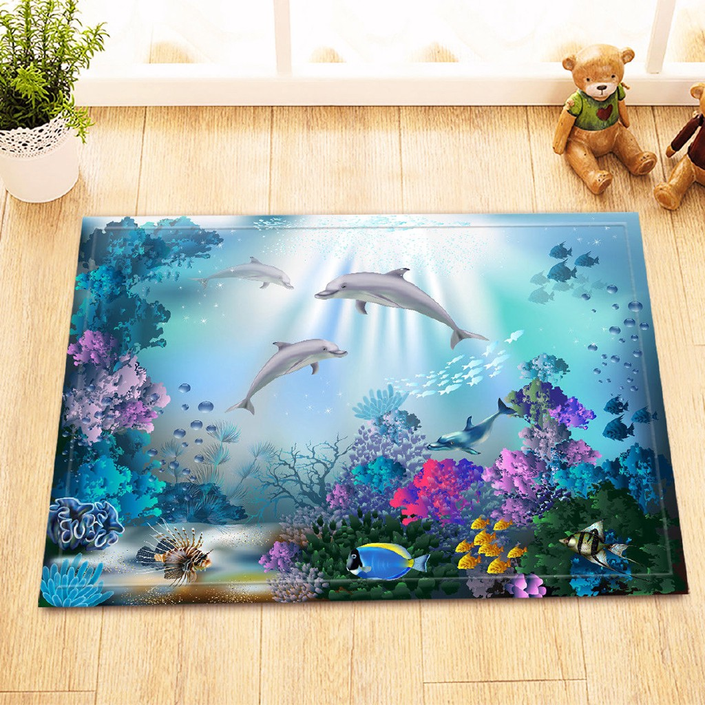 Shower Curtain Underwater World With Fish Plant Bathroom