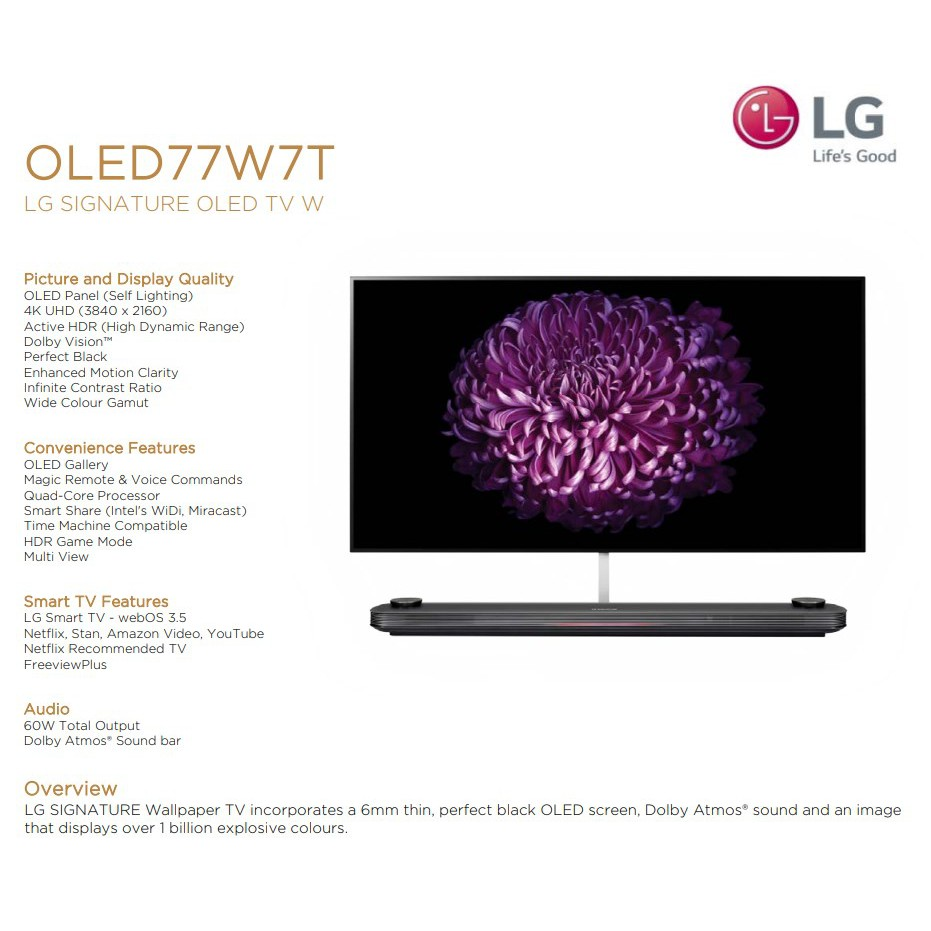 LG OLED77W8PTA HDR Smart 4K UHD OLED TV - 2 years LG