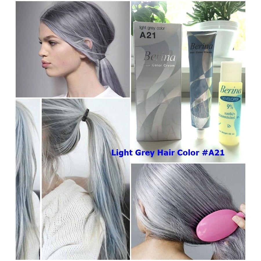 Berina Light Grey A21 Hair Dye Color Cream Permanent Fashion 2 Pcs Sho Malaysia