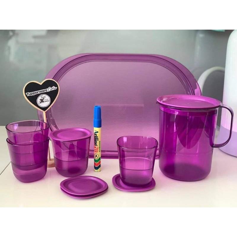 Tupperware Purple Crystalline Pitcher 1.2 L (1)/ Glass Set (4)/Serving Tray