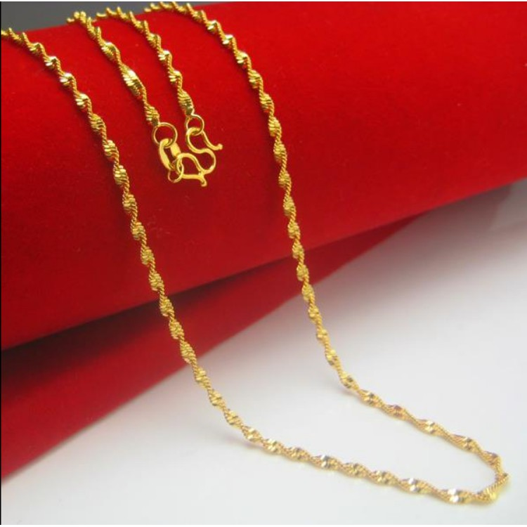 916 Gold Necklace Women S Jewelry Water Ripple Chain Shopee Malaysia