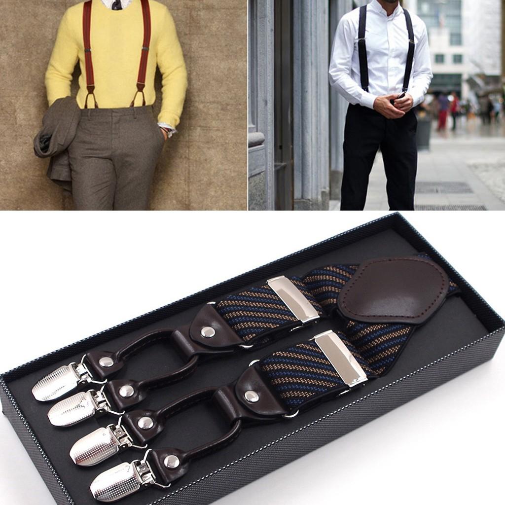 Button-Down Formal Dress Suspenders Black Medium Braces Dark Brown Leather 3.5cm