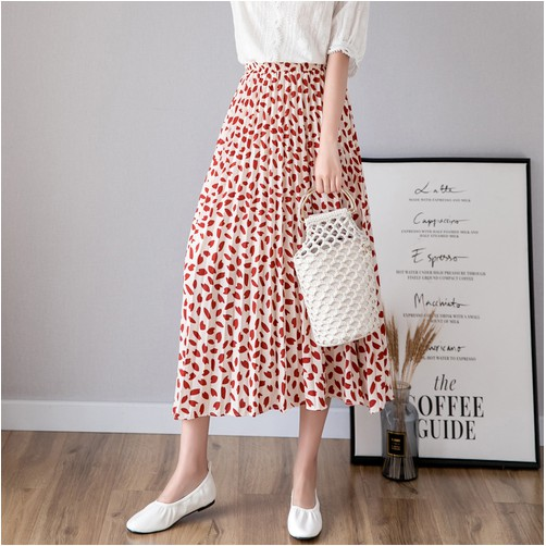 f7d2e966a ProductImage. ProductImage. Floral Print Chiffon Long Skirt Women Elastic  High Waist Pleated A-line Skirts
