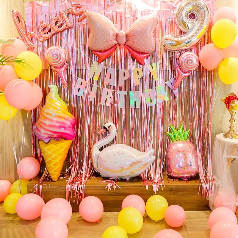 Baby Girl Birthday Party Balloon Kit Laser Happy Birthday Banner And Swan Ice Cream Summer Theme Balloon Set Shopee Malaysia