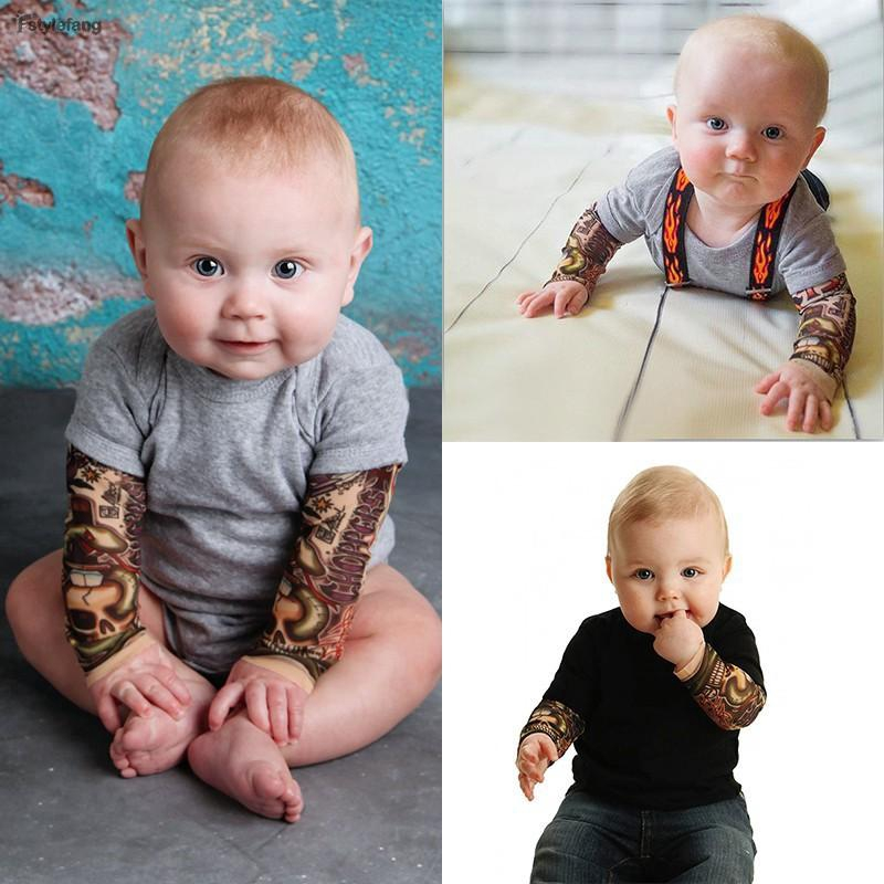 b78f2002c4457 Toddler Infant Baby Boys Tattoo Long Sleeve Cotton Romper Jumpsuit Bodysuit