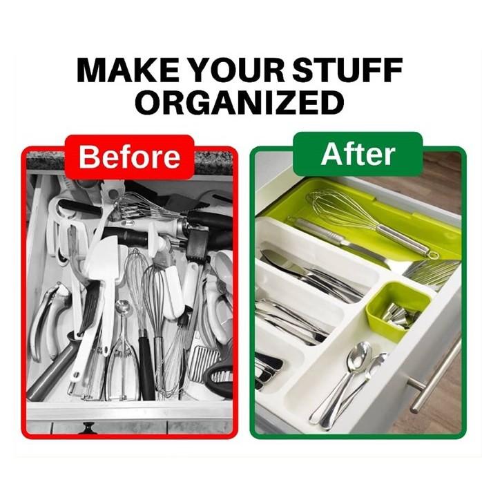 [READY STOK] ORGANIZER BAWAH DRAWER / BEKAS SIPAN SUDU GARFU / DRAWER STORE Expandable Cutlery Tray Organiser