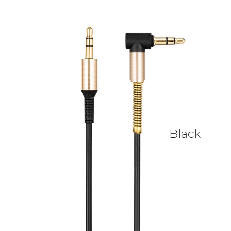 HOCO UPA02 AUX Spring tail audio cable 24K gilding 3.5mm connectors 1m wire