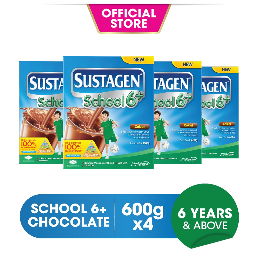 Sustagen School 6+ Milk Formula - Chocolate (600g x 4)