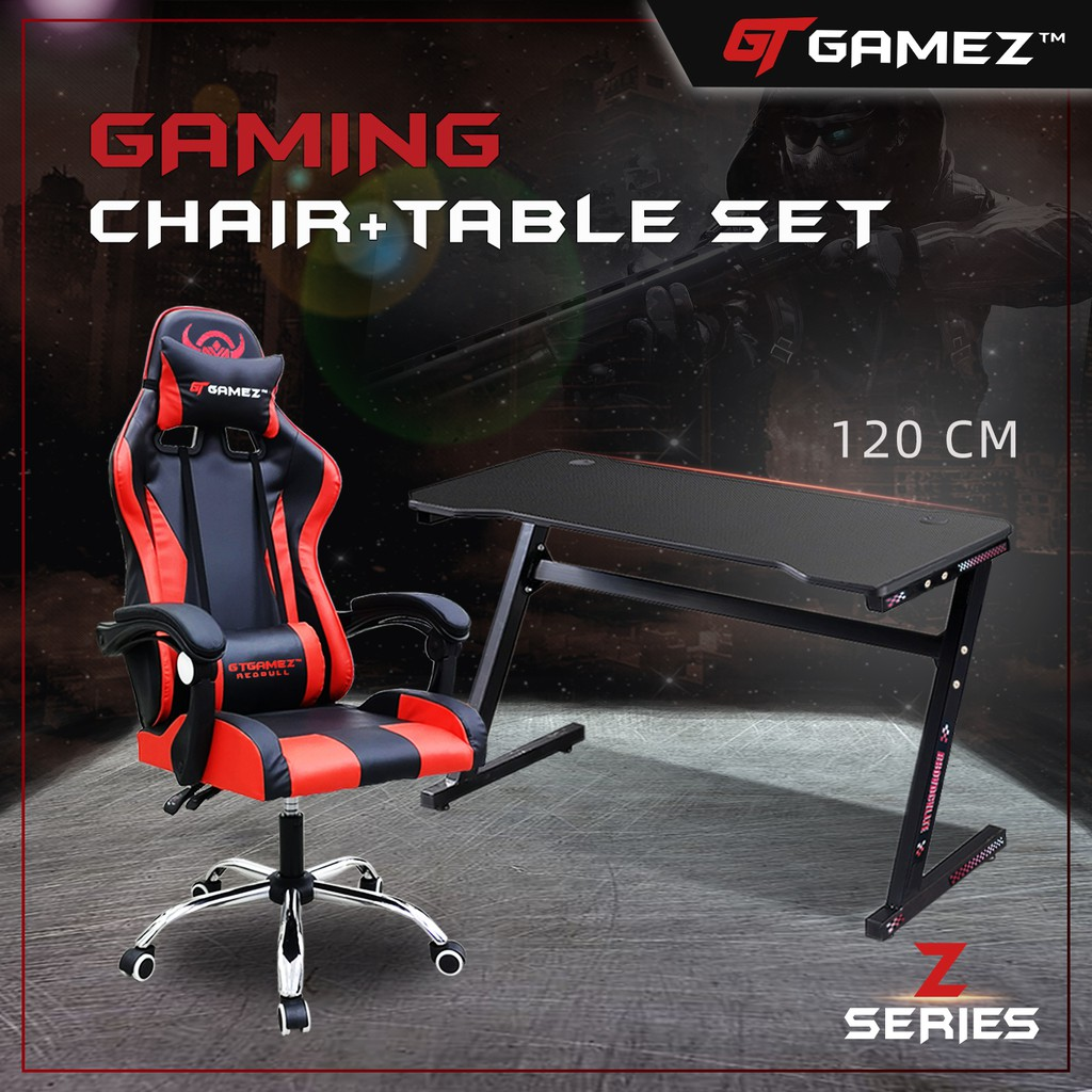 GTGAMEZ Z Series 4FT Carbon Fiber Surface E-sports Gaming Table / Gaming Desk +  Gaming Chair (Red)