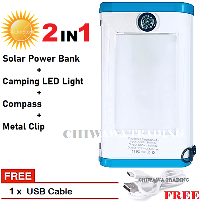 TX20【Free Gift : USB Cable】20000mAh Solar Power Bank + LED Camping Light + Compass