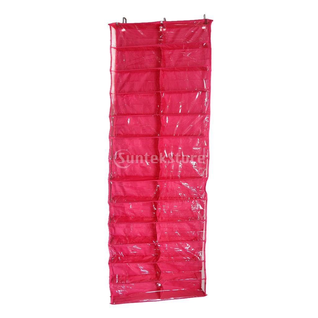 26 Pocket Hanging Over Door Shoe Organiser Storage Rack Bag Hook Rose Red