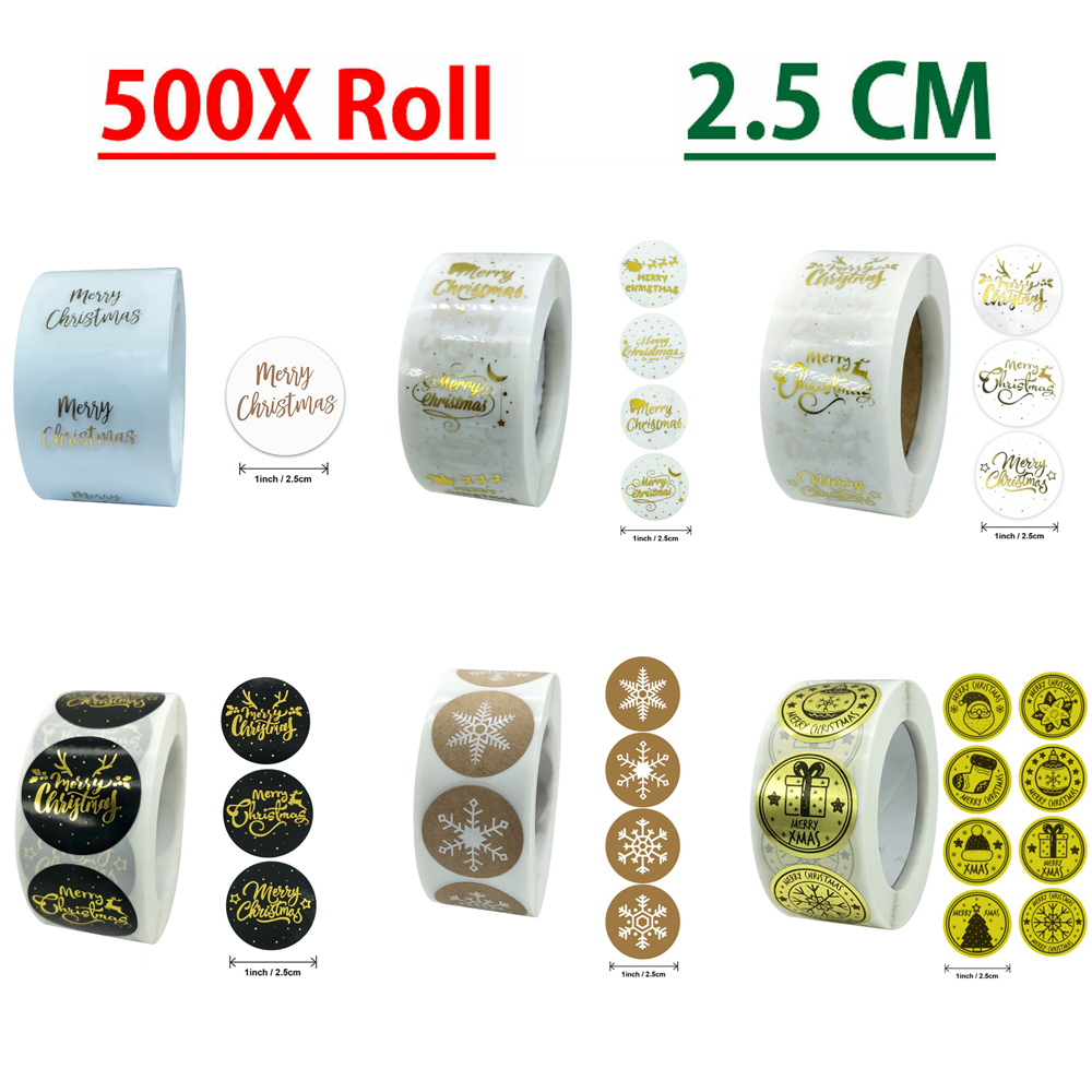 Merry Christmas 2020 NEW Thank You Stickers Labels Gift 2.5cm 500Pcs Roll