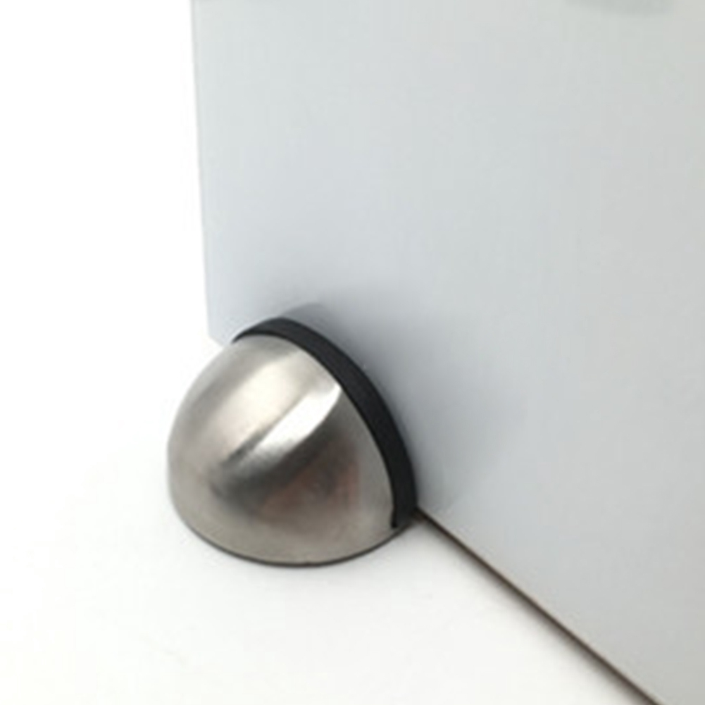 Stainless Steel Oval Door Stop Chrome Stopper Floor Rubber 445mm