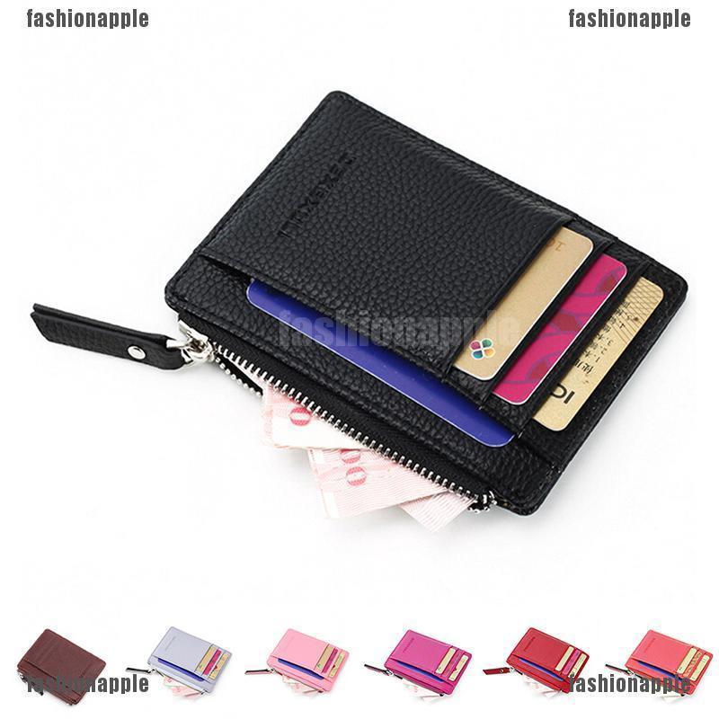 2c30fc69f8e8 Wallet slim money clip credit card holder ID business mens Faux leather  Black