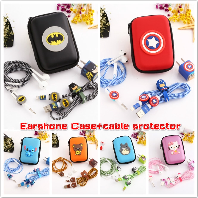 iPhone USB Cable Earphone Protector Set With Earphone Box Cable Winder  Stickers