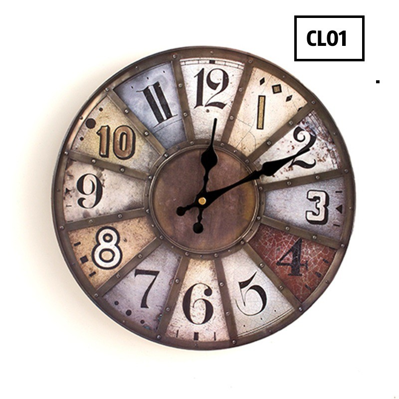 [ READY STOCK ]  European Retro Wall Clock Quality Wood Creative Living Room Silent Hang Clock Wall Jam Jualan Murah Home