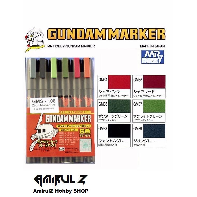 MR  Hobby Gundam Marker GMS-108 Zeon Marker Set