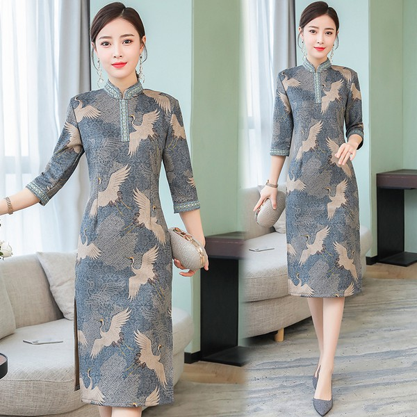 368f61fa7 ProductImage. ProductImage. Sold Out. Plus Size Retro Women Long Qipao  Split Dress Embroidery Ladies Bodycon Cheongsam